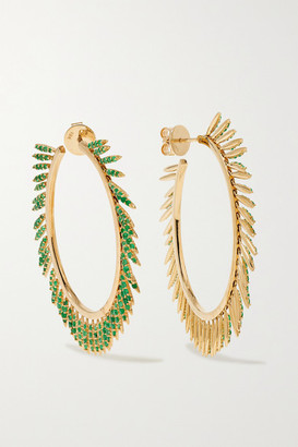 Ileana Makri Grass Sunny 18-karat Gold Emerald Hoop Earrings