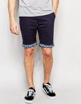 Bellfield Chino Shorts With Contrast Geo Print Turn Up