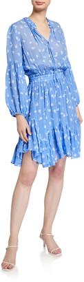 Shoshanna Mira Smocked-Waist Ruffle-Hem Dress