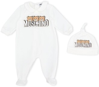 MOSCHINO BAMBINO Logo Peter Pan Collar Onesie