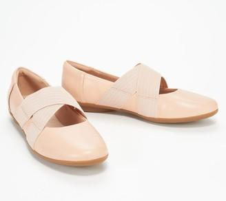 Clarks Collection Leather Cross- Strap Flats - Gracelin Shea