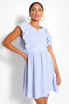 boohoo Tall Woven Polka Dot Print Smock Dress