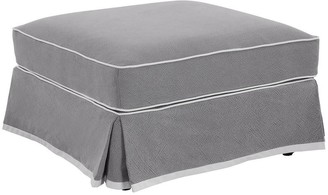 One World Montauk Ottoman Grey With White Piping