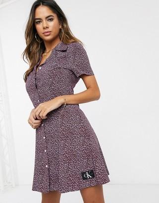 Calvin Klein ditsy floral print shirt dress