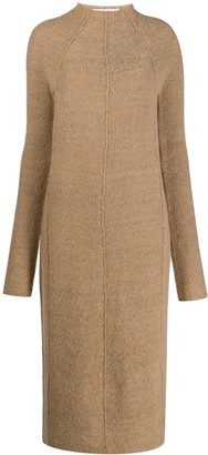 Jil Sander Textured Fitted Long-Sleeved Dress
