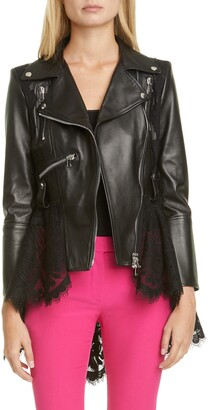 Alexander McQueen Lace Peplum Leather Moto Jacket