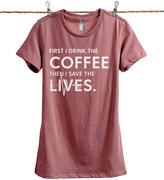 Thread Tank Women's Tee Shirts Heather - Heather Rouge 'First I Drink The Coffee' Tee - Women