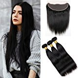 Vinsteen Grade 8A Unprocessed Brazilian Human Hair wefts Straight Style 100% Human Hair Extensions 3 Bundles with 13X4 Lace Frontal Closure (262828+20)
