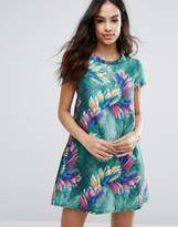 Traffic People Quilted Skater Dress In Tropical Print
