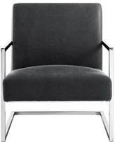 Nicole Miller Keenan Leather PU Square Armchair Upholstery Color: Charcoal, Leg Color: Chrome