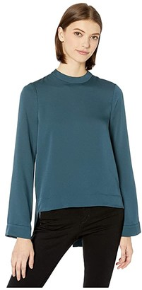 BCBGMAXAZRIA Mock Shirt Sleeve Top (Midnight Teal) Women's Clothing