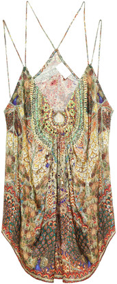 Camilla Embellished Gathered Printed Silk-jacquard Camisole