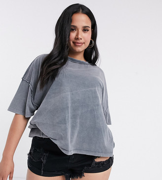 ASOS DESIGN Curve oversized t-shirt with exposed seams in washed grey
