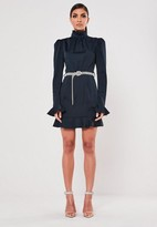 Missguided Navy High Neck Diamante Belted Mini Dress