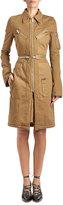 Givenchy Zip-Trim Cargo Twill Coat, Khaki