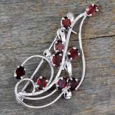 Floral Garnet and Sterling Silver Brooch Pin, 'My Bouquet'