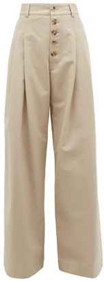J.W.Anderson Wide-leg Cotton Trousers - Womens - Grey
