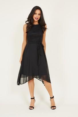 Yumi Black Lace Asymmetric Dress
