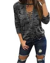 ABD Womens V Neck Long Sleeve Camouflage Print Bandage Loose Blouse T-Shirt Top