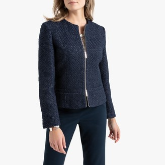Anne Weyburn Woven Fitted Collarless Jacket with Zip