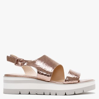Luca Grossi Fleetwood Gold Leather Metallic Cleated Sole Sandals