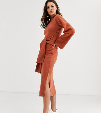 Asos Tall DESIGN Tall long sleeve super soft crew neck tie front midi dress-Red