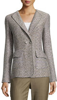 St. John Aluna Tweed Double-Breasted Jacket, White Pattern