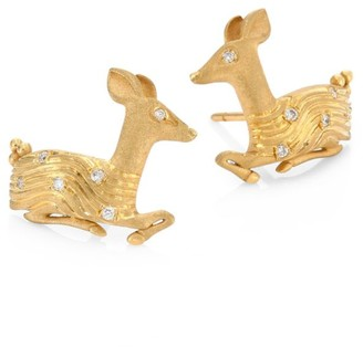Temple St. Clair Deer Diamond & 18K Yellow Gold Stud Earrings
