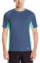 Teal Cove Men's Side Panel Short Sleeve Swim Tee with 20+ Upf Protection