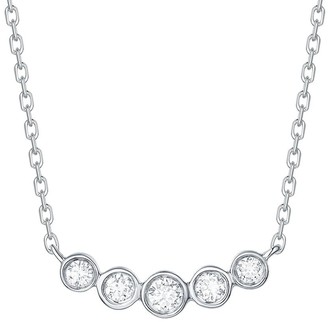 Lab Grown Diamond 5 Stone Necklace for Women, 1/6 Ctw 14K Solid Gold by Smiling Rocks