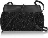 Kara Tie Leather-trimmed Shearling Shoulder Bag - Black