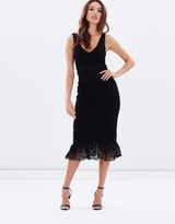 Jeanne Ruffle Hem Lace Midi Dress