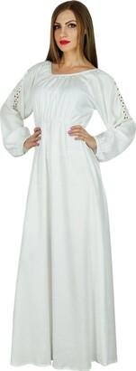 Bimba Women Boho Gothic Style Long Maxi Dress Lace Long Sleeves Gown White