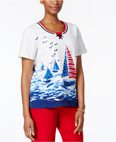 Alfred Dunner Petite Lady Liberty Tie-Neck Sailboat Top
