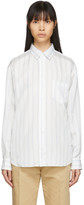 Comme des Garcons White Cupro Striped Forever Shirt