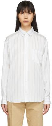 Comme des Garçons Shirt White Cupro Striped Forever Shirt