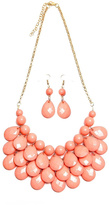 Riah Fashion Peach Bubble Necklace Set
