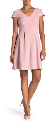 Eliza J V-Neck Cap Sleeve Fit & Flare Dress
