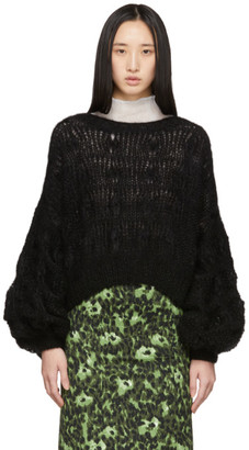 Loewe Black Mohair Balloon Sleeve Cable Sweater