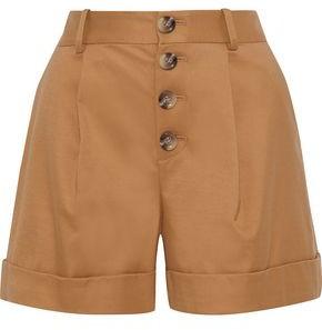 Alice + Olivia Tomasa Pleated Cotton-blend Twill Shorts