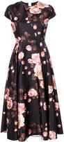 Rochas rose print cap sleeve dress - women - Polyester/Cupro - 38