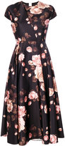 Rochas rose print cap sleeve dress - women - Polyester/Cupro - 40