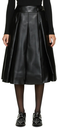 Junya Watanabe Black Faux-Leather Pleated Skirt