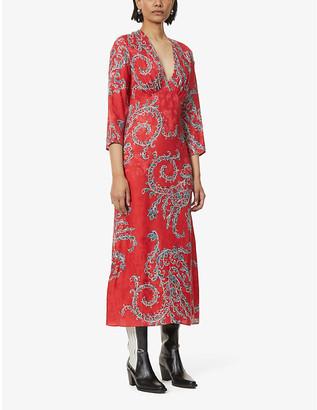 Sandro Talina silk-jacquard patterned midi dress