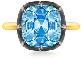 Fred Leighton 18kt yellow gold and oxidised sterling silver Signed old cushion cut blue topaz ring