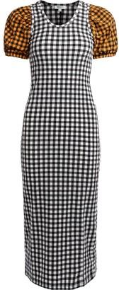 Kenzo Long Black Checked Dress
