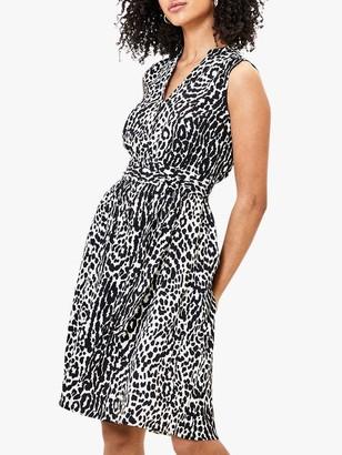 Oasis Animal Print Shirt Dress, Black/White