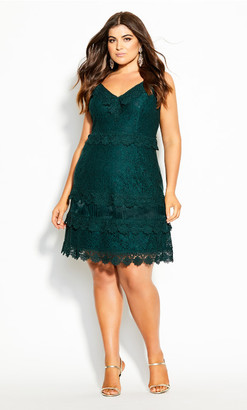 City Chic Nouveau Lace Dress - emerald