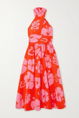 STAUD Moana Printed Stretch-cotton Poplin Halterneck Midi Dress - Red