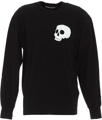 Palm Angels Skull Logo Printed Long-Sleeve T-Shirt